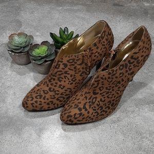 Colin Stuart Leopard Print Ankle Booties, Sz 8.5
